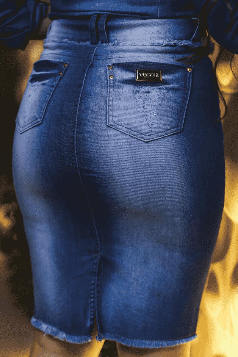Saia Jeans Botões Detalhes Franja Moda Evangélica