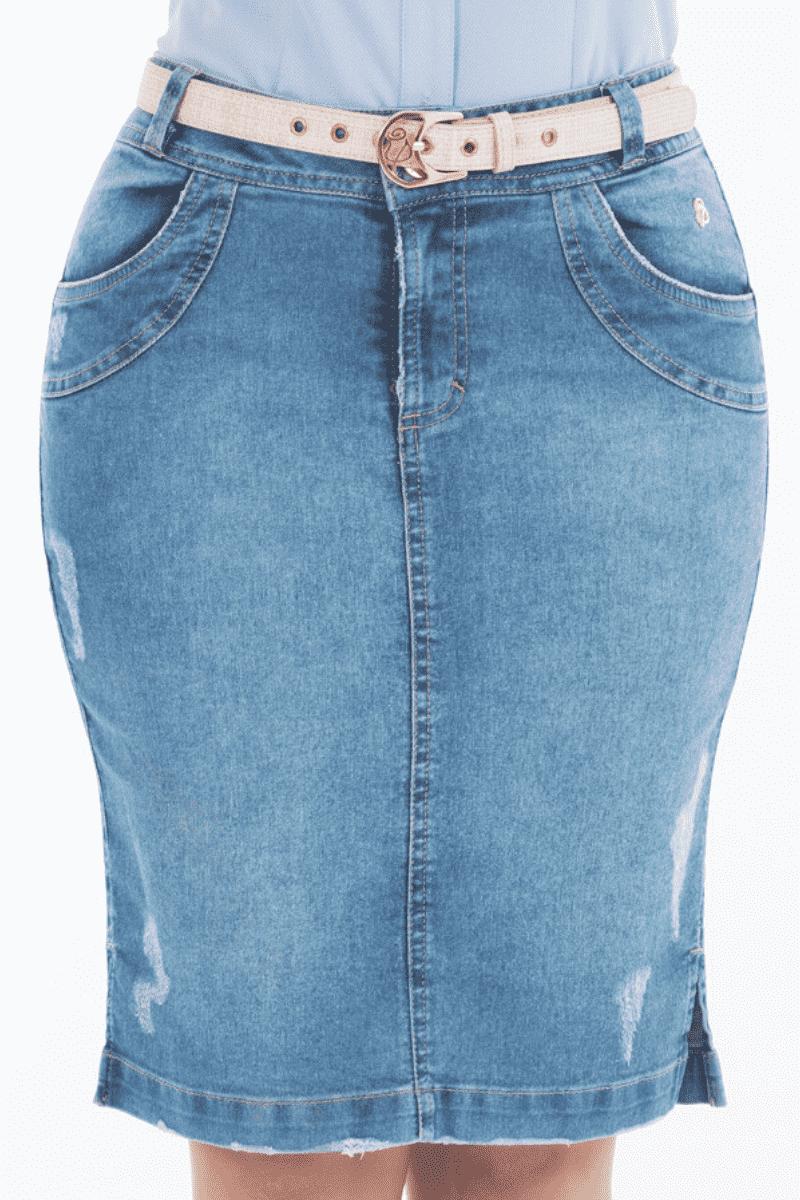 Saia Jeans Clara com Cinto Via Tolentino