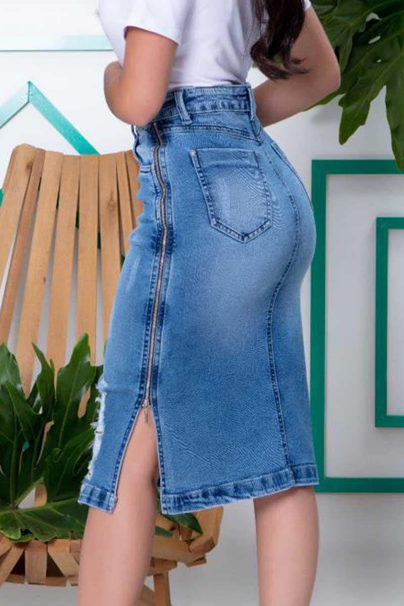 Saia Jeans Com Abertura Lateral Detalhe Em Zíper