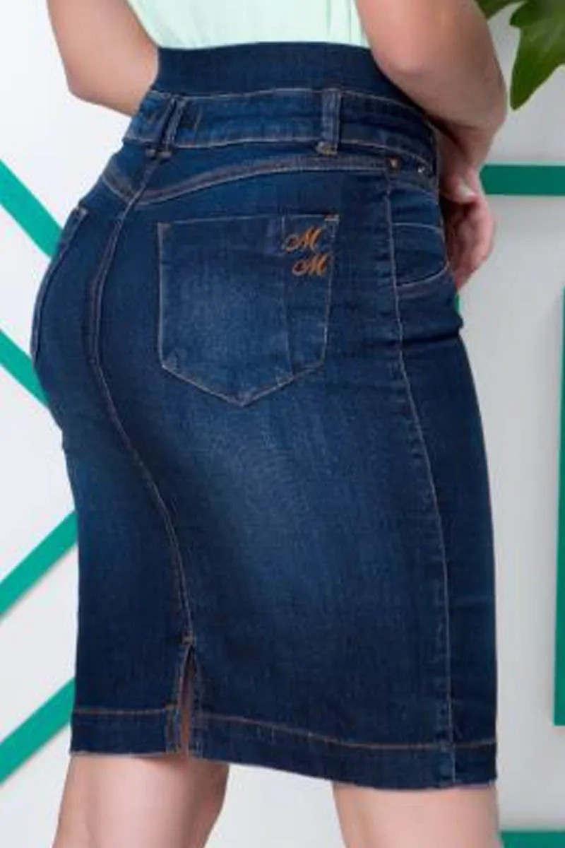 Saia Jeans Com Bolsos Traseiros Verdadeiros