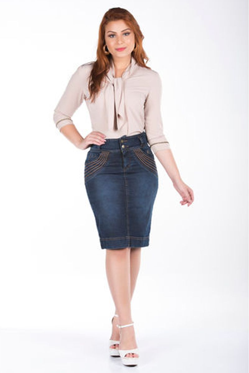 Saia Jeans com Bordado nos Bolsos Via Tolentino