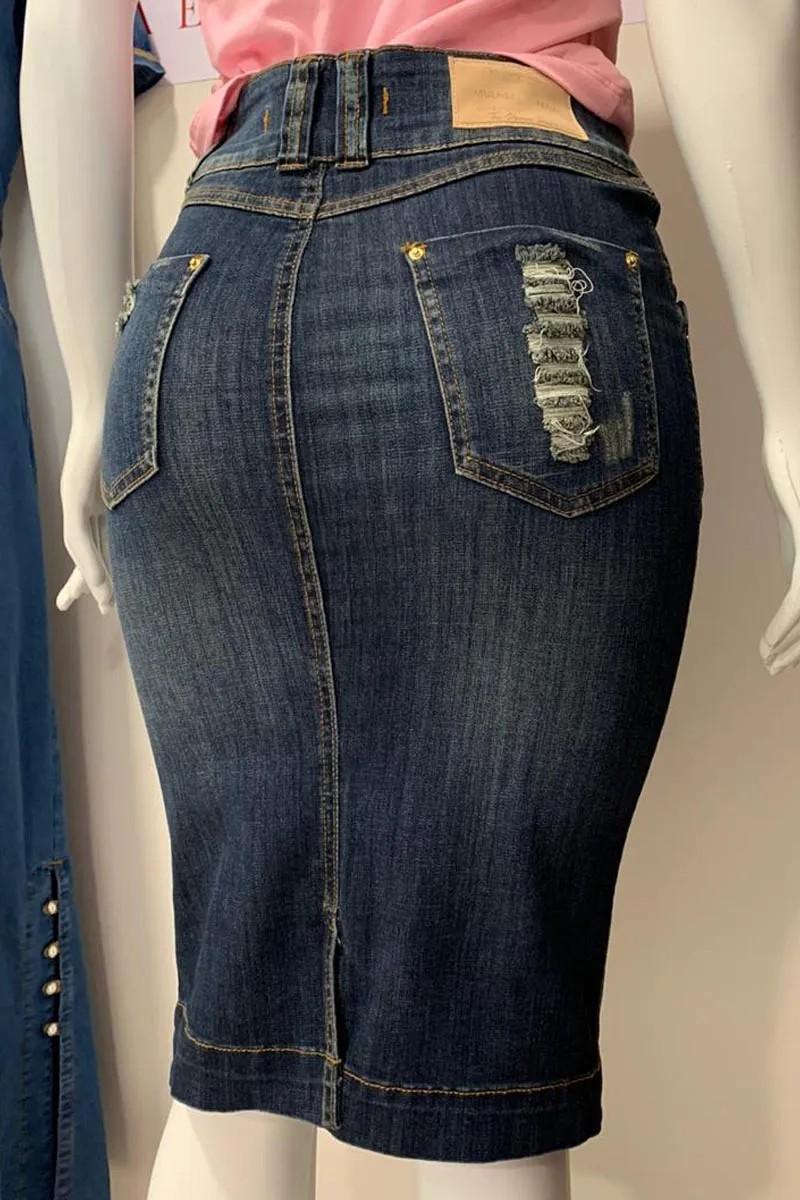 Saia Jeans Com Destroyed E Bolsos Verdadeiros