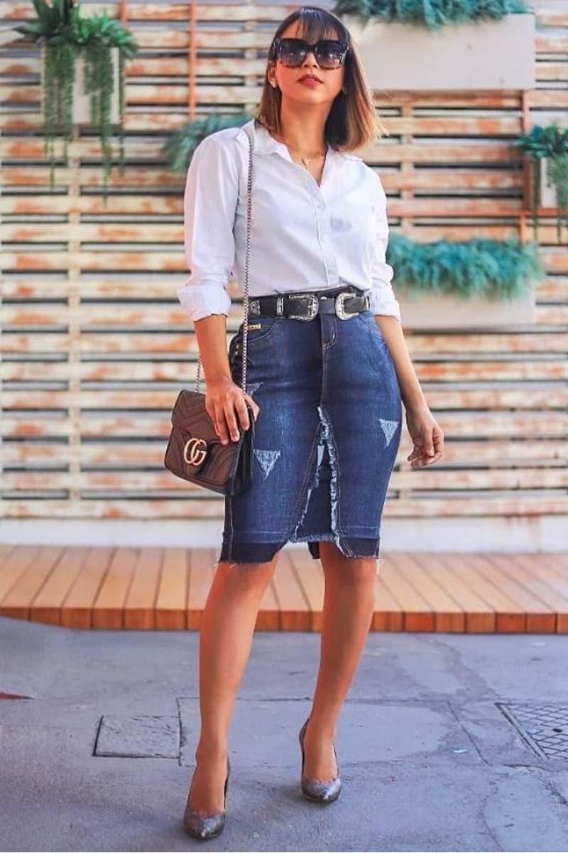 Saia Jeans Com Detalhe de Sobreposição Moda Evangélica