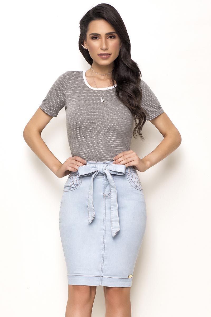 Saia Jeans com Faixa Para Amarração Removível Laura Rosa