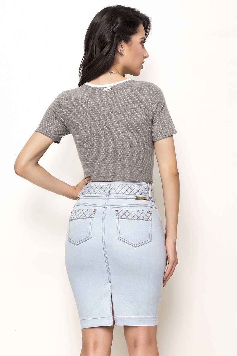Saia Jeans com Faixa Para Amarração Laura Rosa
