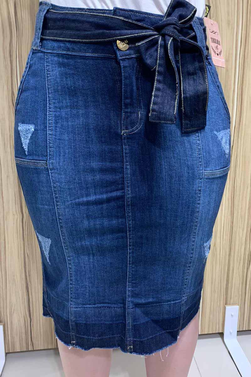 Saia Jeans com Faixa Para Amarração Moda Evangélica