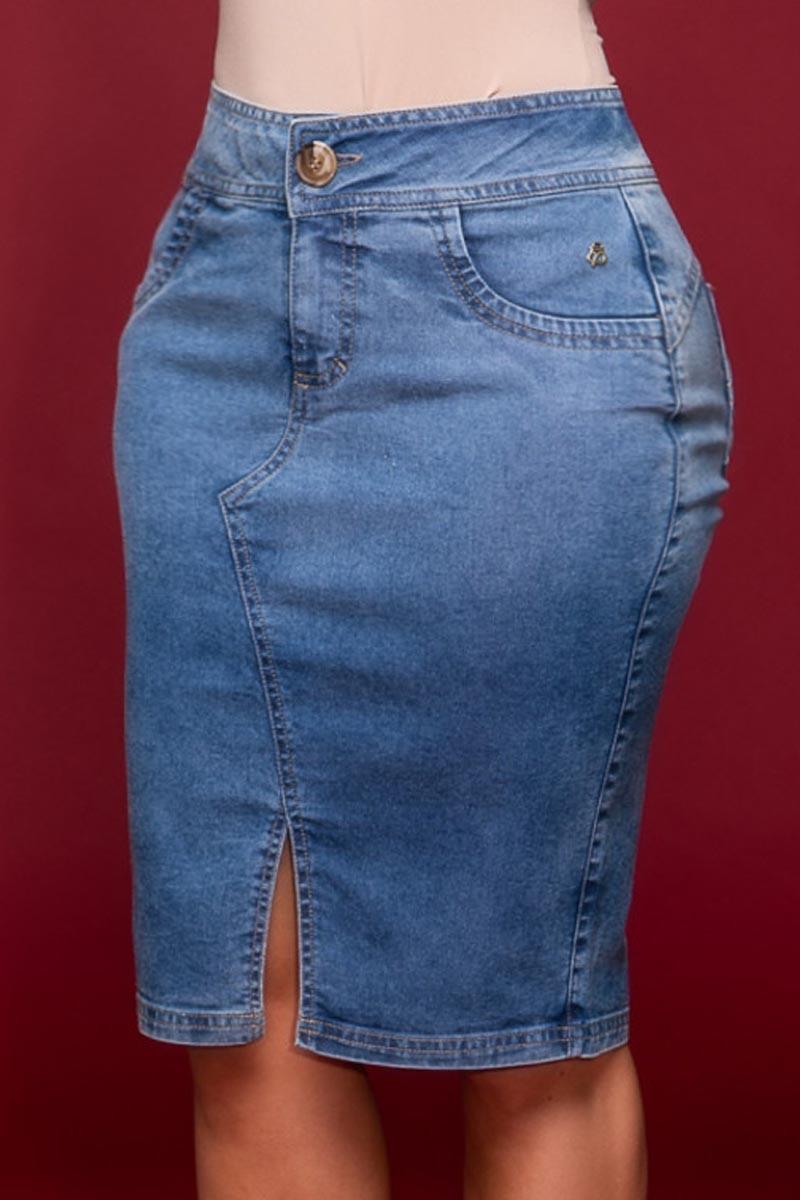 Saia Jeans com Fenda Frontal Via Tolentino