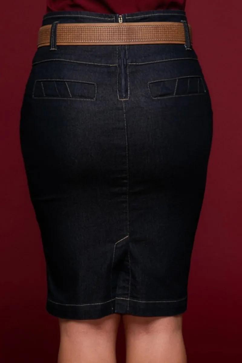 Saia Jeans Com Recorte e Cinto Via Tolentino