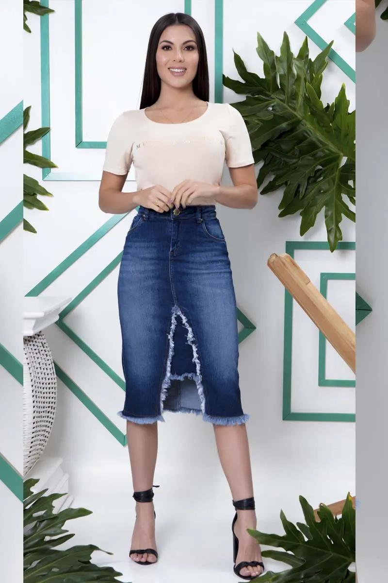 Saia Jeans Com Recorte Frontal Desfiado Moda Evangélica
