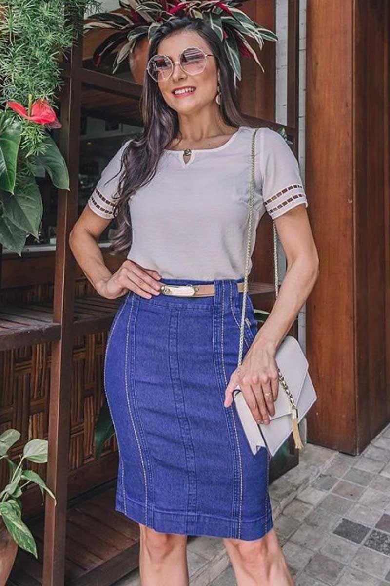 Saia Jeans com Recortes e Cinto Via Tolentino