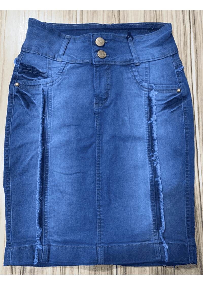 Saia Jeans com Recortes Moda Evangélica