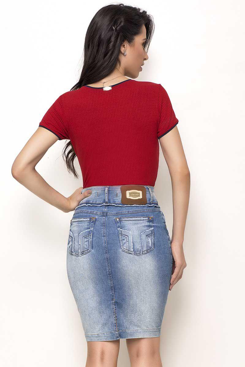 Saia Jeans Cós Desfiado Laura Rosa Moda Evangélica
