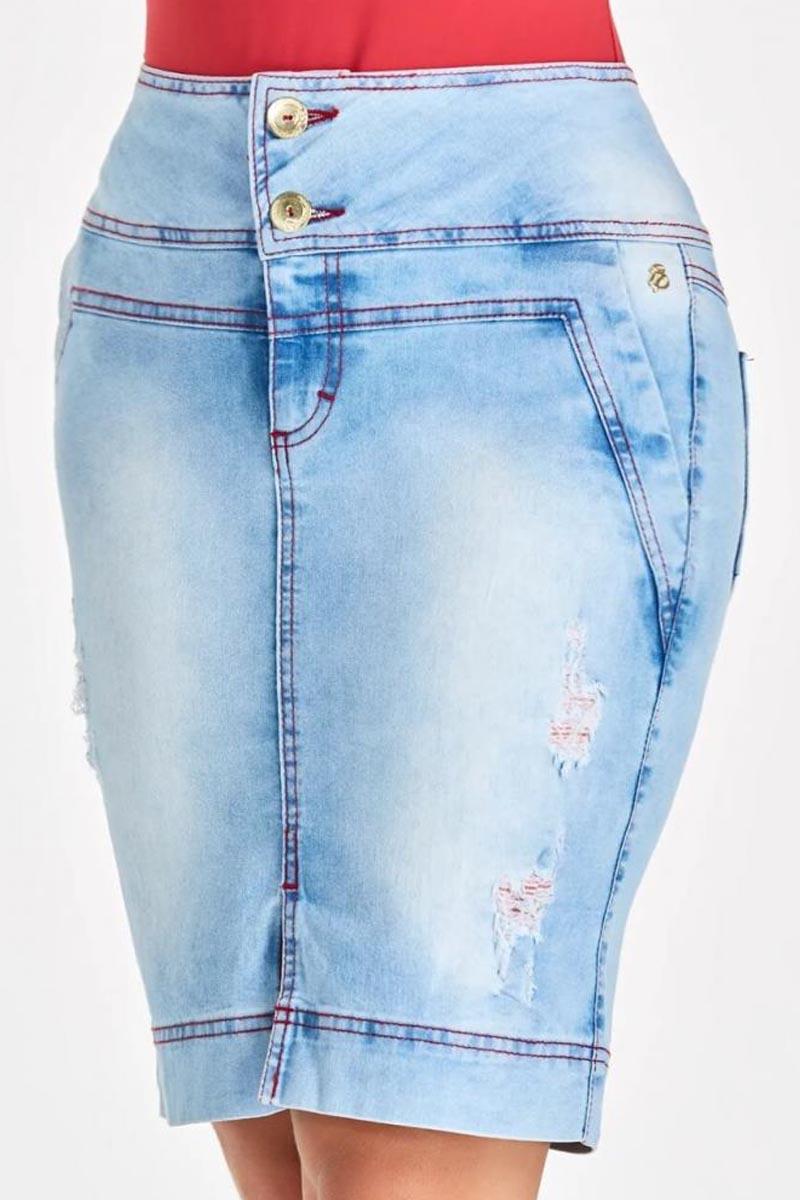 Saia Jeans Detalhe Rasgados Via Tolentino