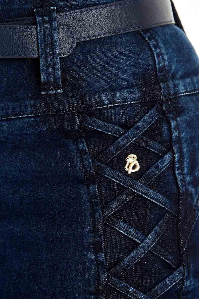 Saia Jeans Detalhe Roletes Cruzados Via Tolentino