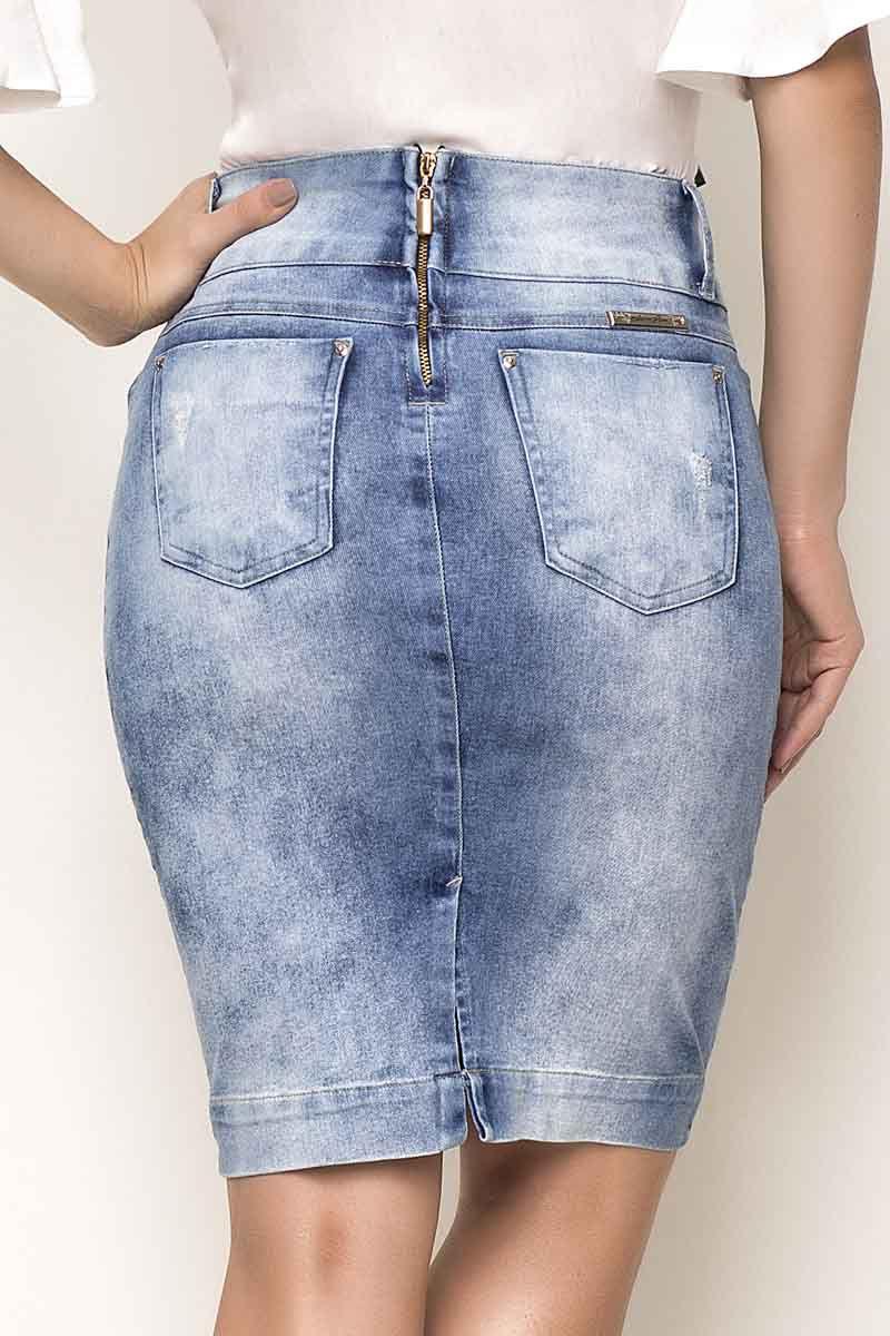 Saia Jeans Detalhe Trançado No Bolso Laura Rosa