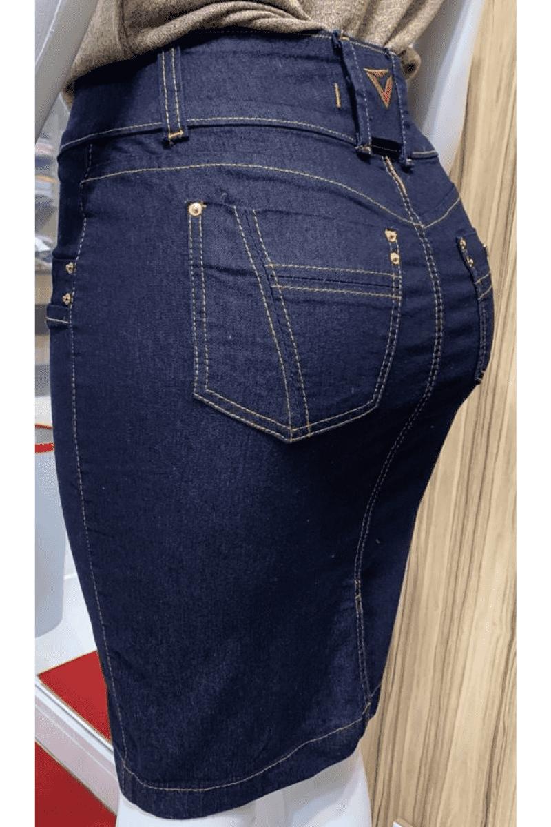Saia Jeans Escura Recortes Tamanhos Plus Size Moda Evangélica