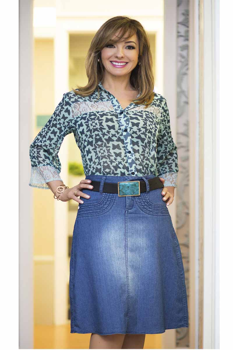 Saia Jeans Evasê Moda Evangélica