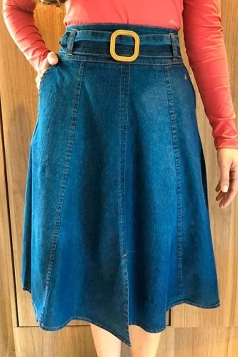 Saia Jeans Godê Com Cinto Em Tecido Via Tolentino