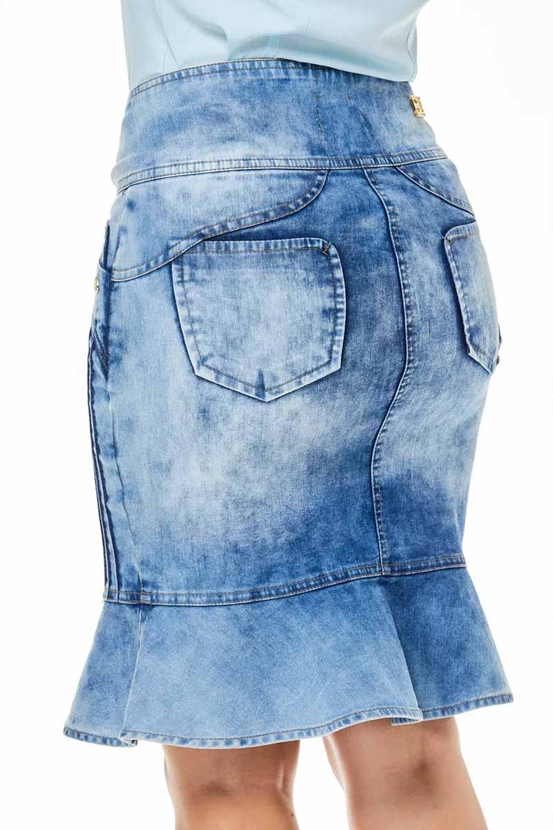 Saia Jeans Justa Com Babado E Nervuras Via Tolentino
