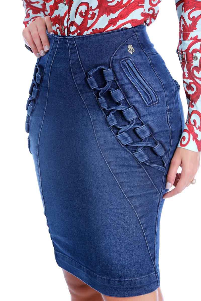 Saia Jeans Justa Vies Entrelaçado Detalhe Via Tolentino