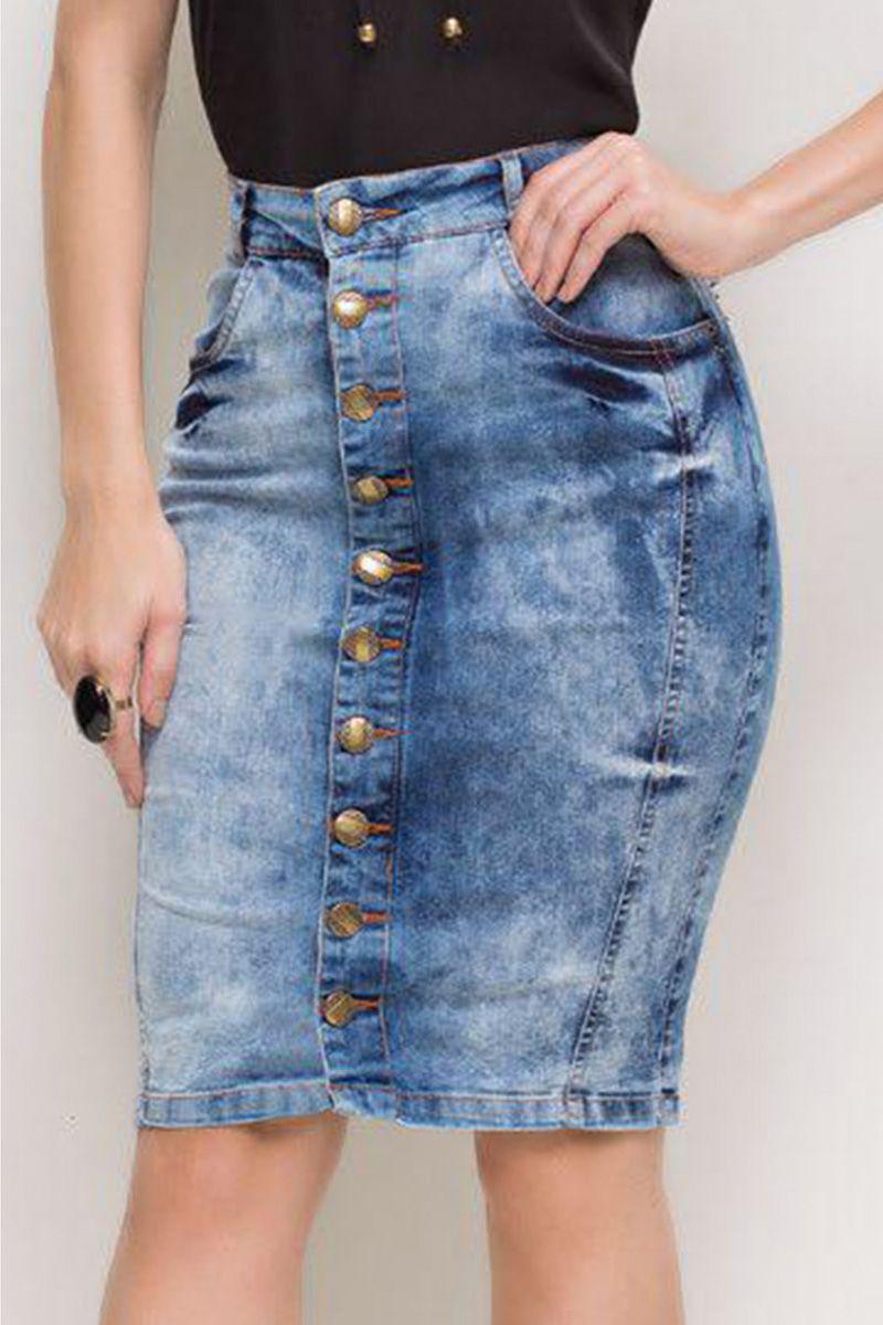 Saia Jeans Lápis com Botões e Lavagem Sky Bleach Laura Rosa Moda Evangélica