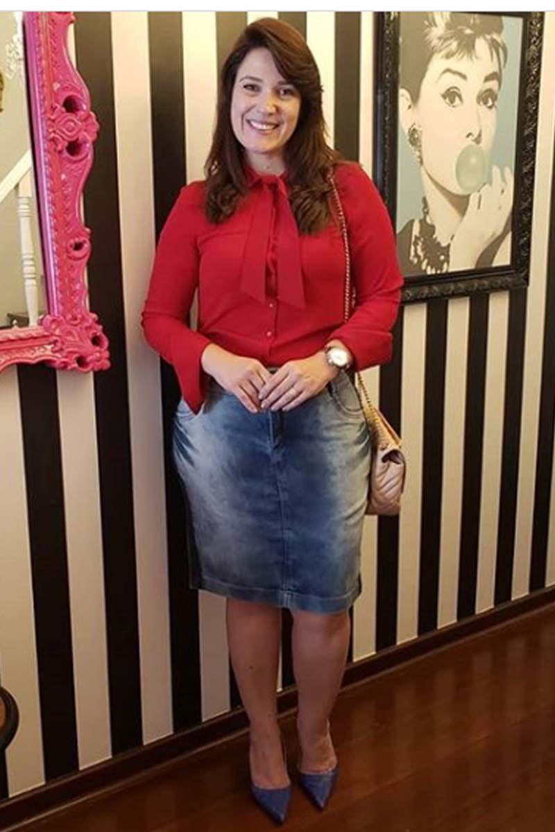 Saia Jeans Lavagem Diferenciada na Lateral Moda Evangélica