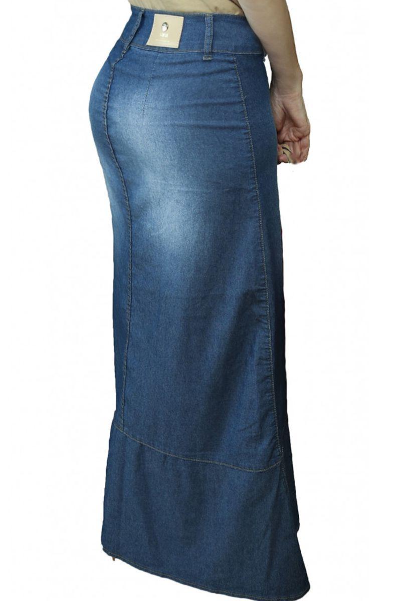 Saia Jeans Longa com Babado Moda Evangélica