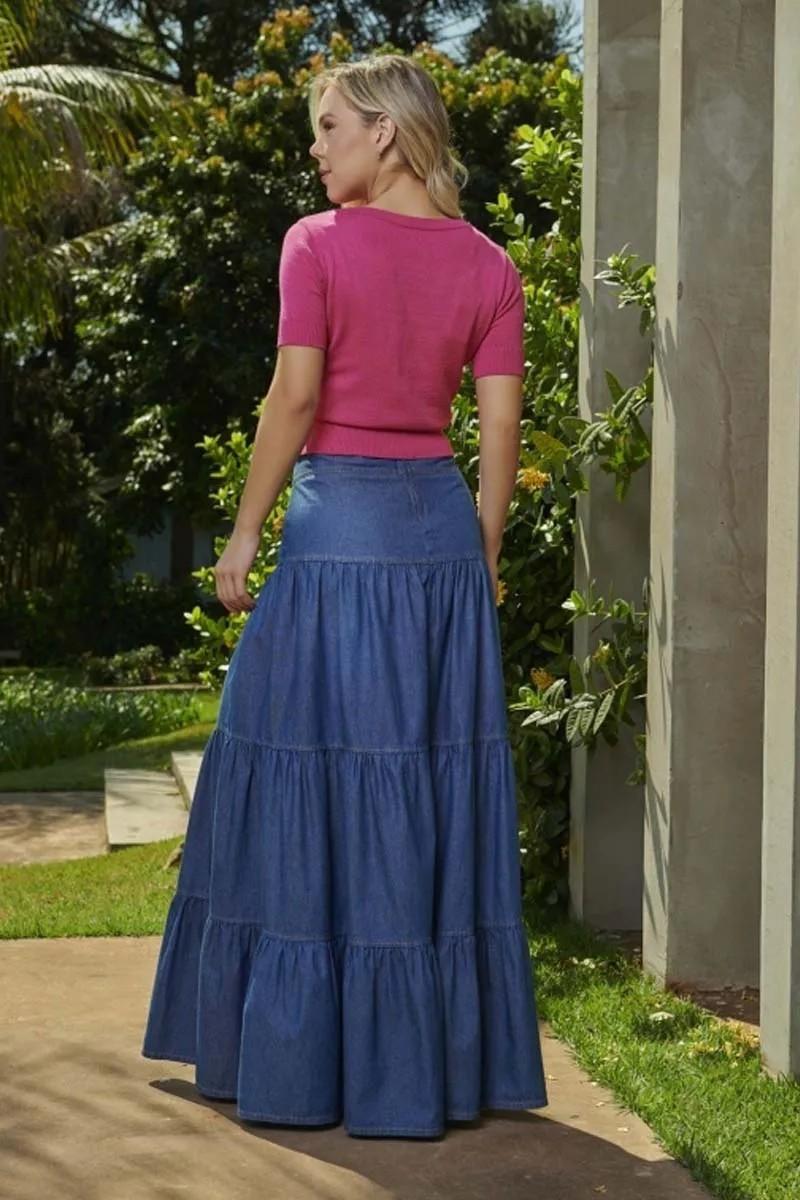 Saia Jeans Longa Detalhe Franzido Três Marias  Via Tolentino