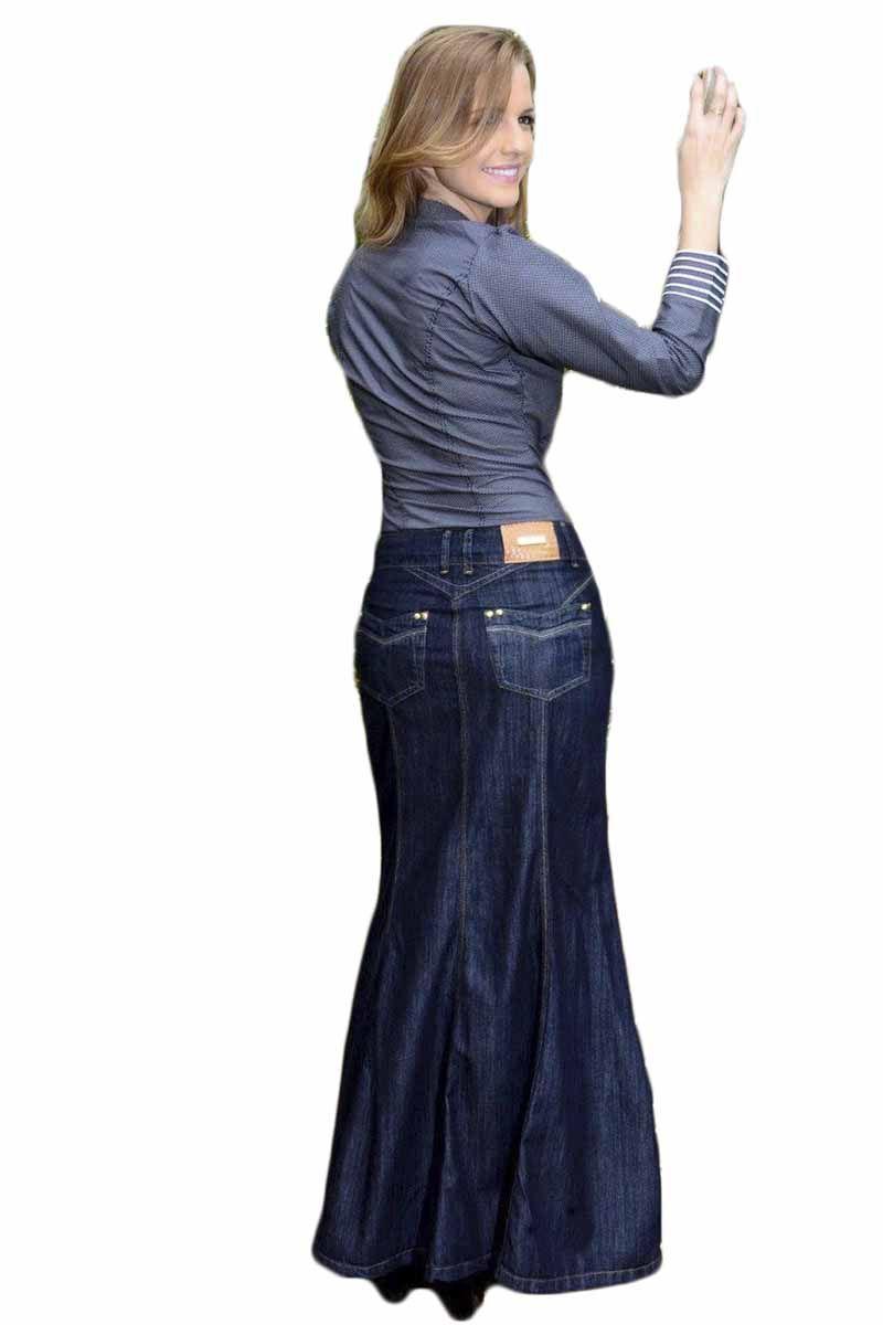 Saia Jeans Longa Moda Evangélica