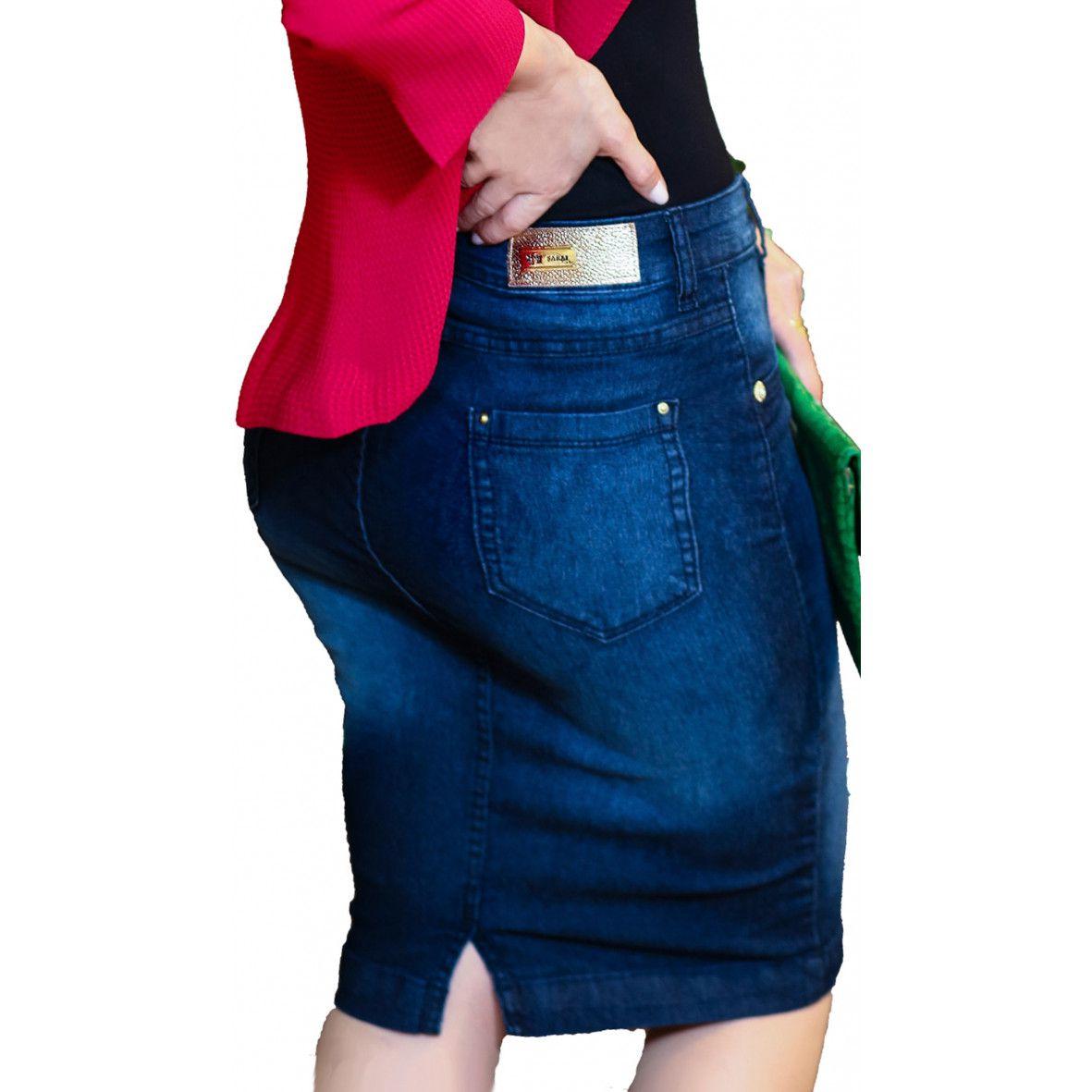 Saia Jeans Longuete Tamanho Plus Size Sarai Moda Evangélica