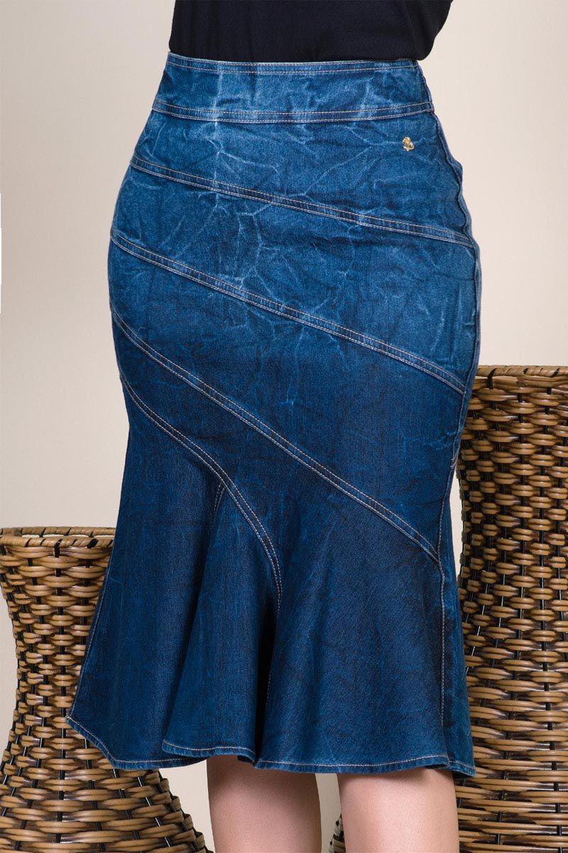 Saia Jeans Sino Com Recortes Via Tolentino