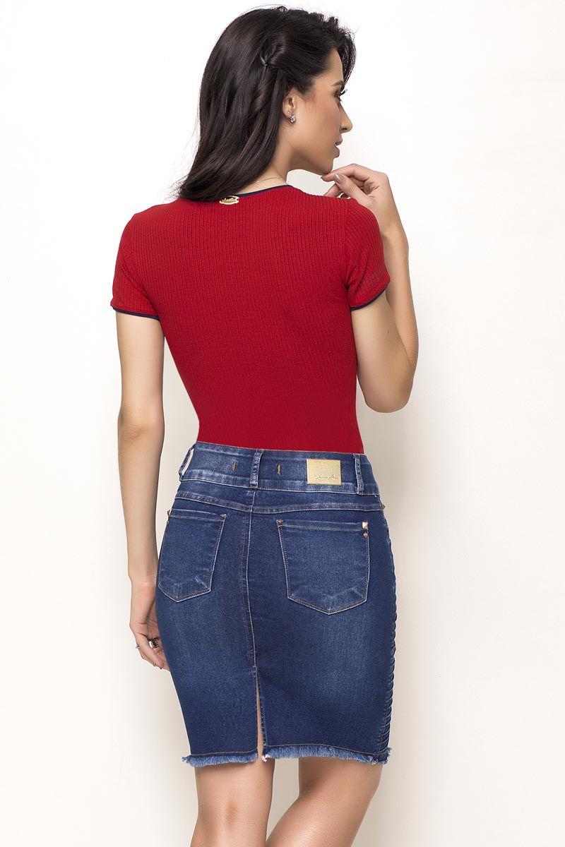 Saia Jeans Pregas Laterais Laura Rosa Moda Evangélica