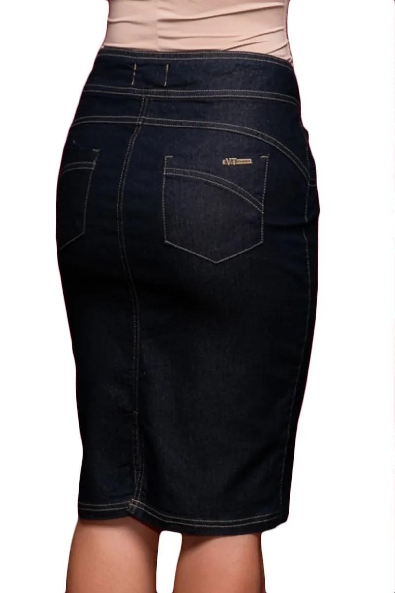 Saia Jeans Preta com Fenda Via Tolentino