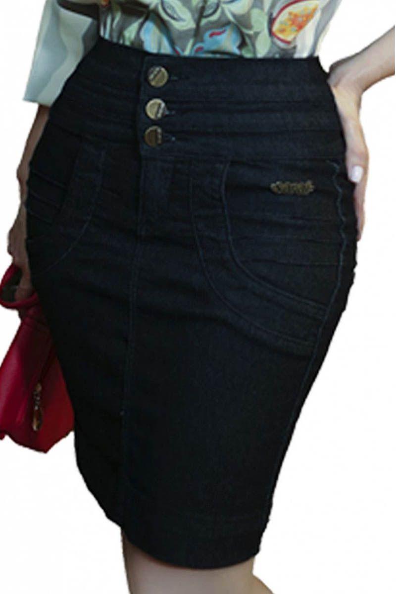 Saia Jeans Preta Até Tamanho Pluz Size Moda Evangélica
