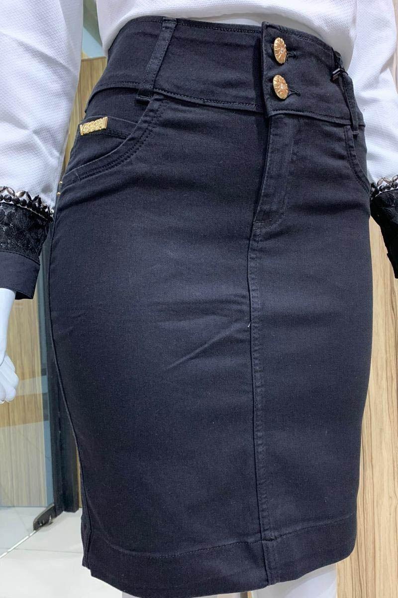 Saia Jeans Preto Moda Evangélica