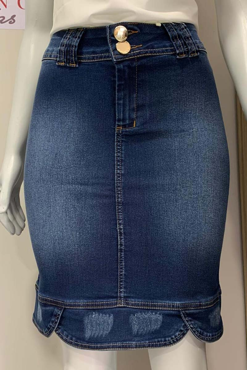 Saia Jeans Recortes Barra e Bolsos Moda Evangélica
