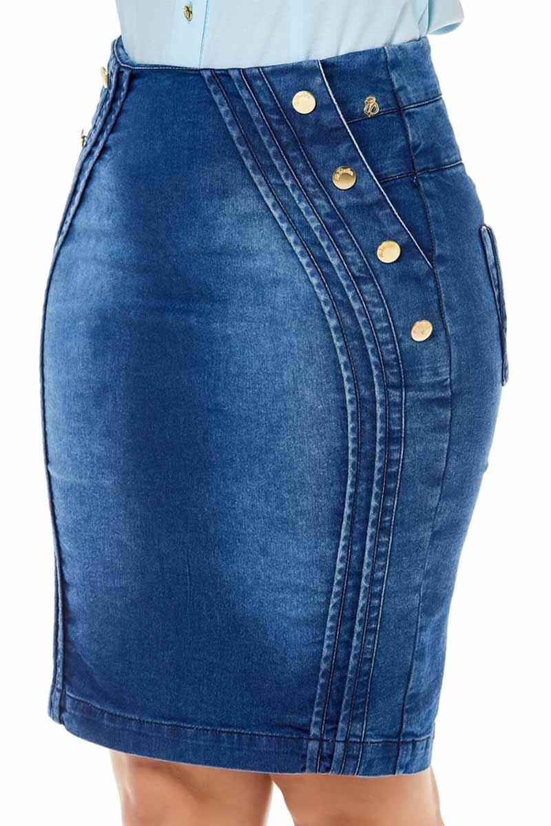Saia Jeans Recortes com Viés e Botões Via Tolentino Moda Evangélica
