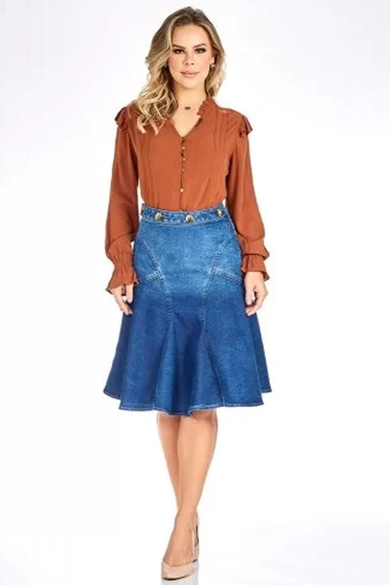 Saia Jeans Recortes Via Tolentino