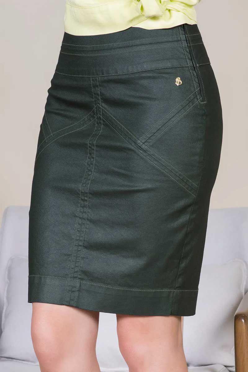 Saia Jeans Resinado Via Tolentino Moda Evangélica
