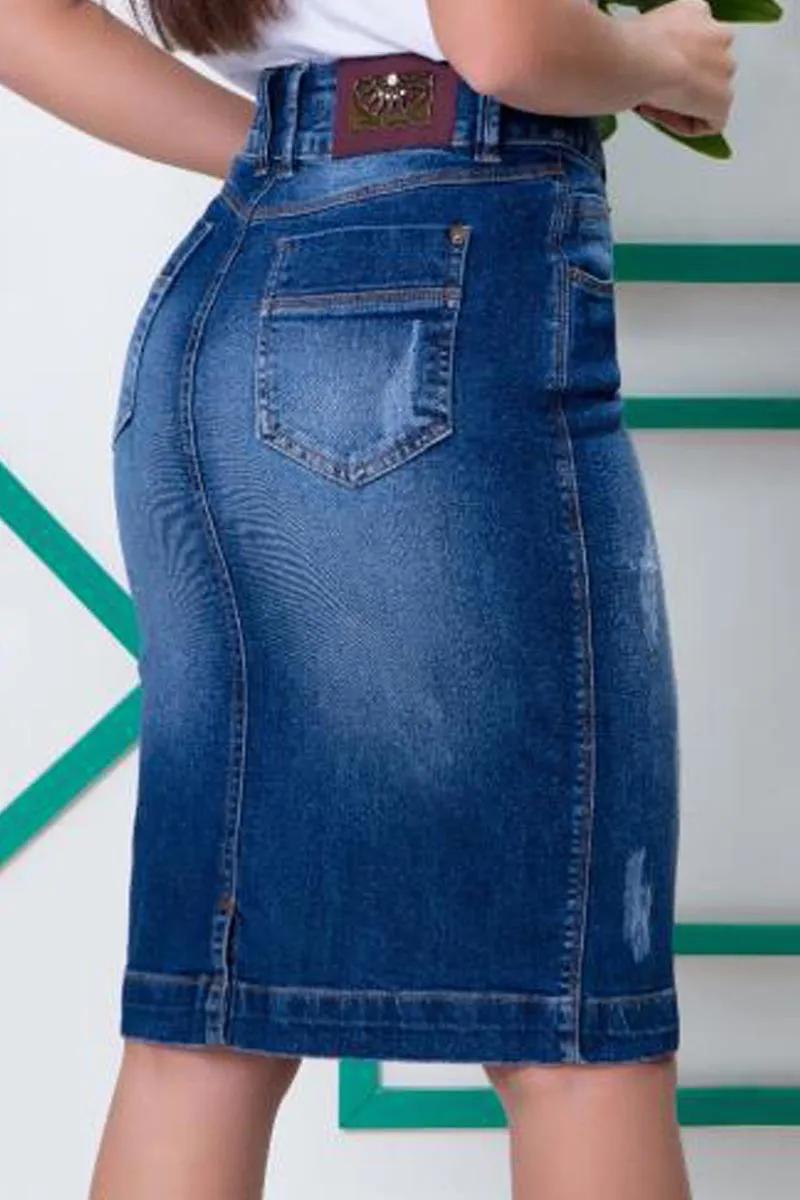 Saia Jeans Secretária Bolso Relógio Moda Evangélica
