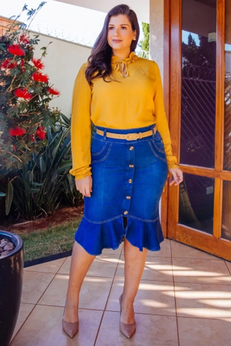 Saia Jeans Sereia Com Botões Frontais Via Tolentino