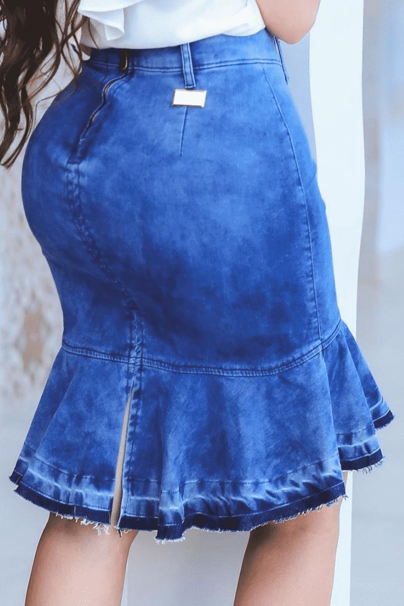 Saia Jeans Sino com Babado Moda Evangélica