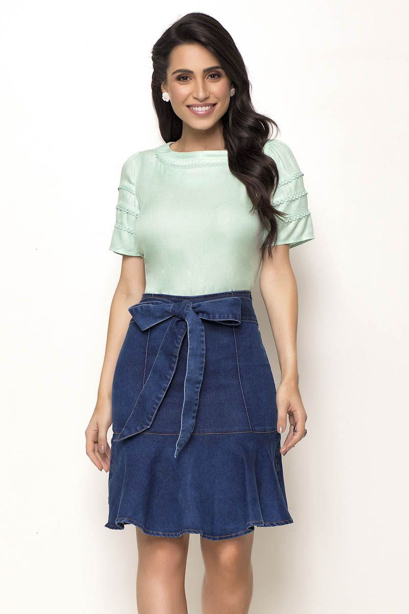 Saia Jeans Sino Com Faixa Para Amarração Na Cintura Laura Rosa