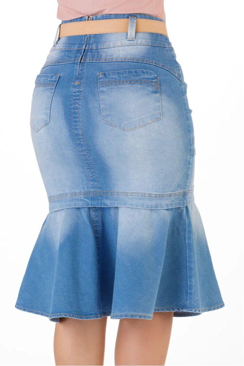 Saia Jeans Sino Midi Recortes Via Tolentino Moda Evangélica