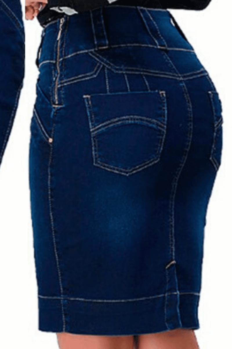 Saia Jeans Tradicional Moda Evangélica