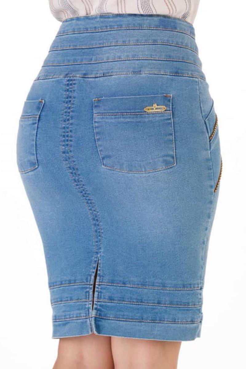 Saia Jeans Via Tolentino Moda Evangélica