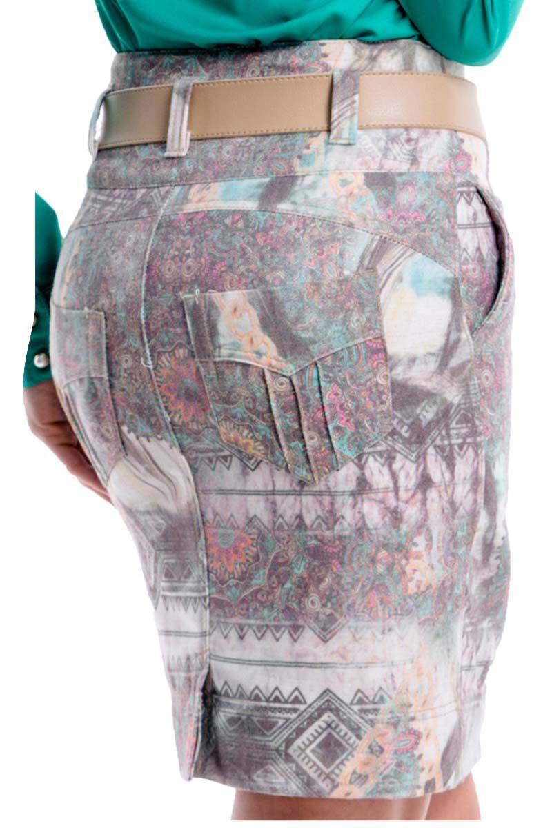 Saia Jeans Zíper Frontal Via Tolentino Moda Evangélica