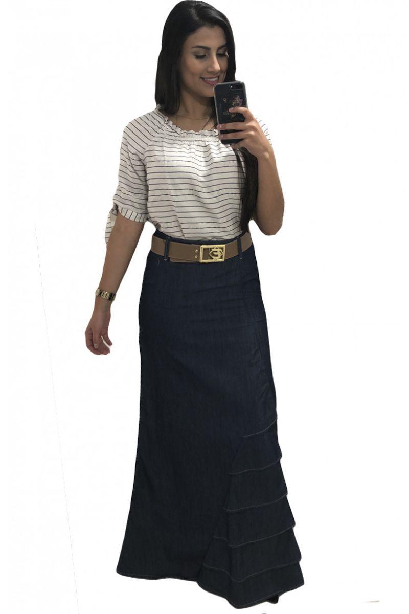 Saia Longa Jeans com Babado e Cinto Moda Evangélica