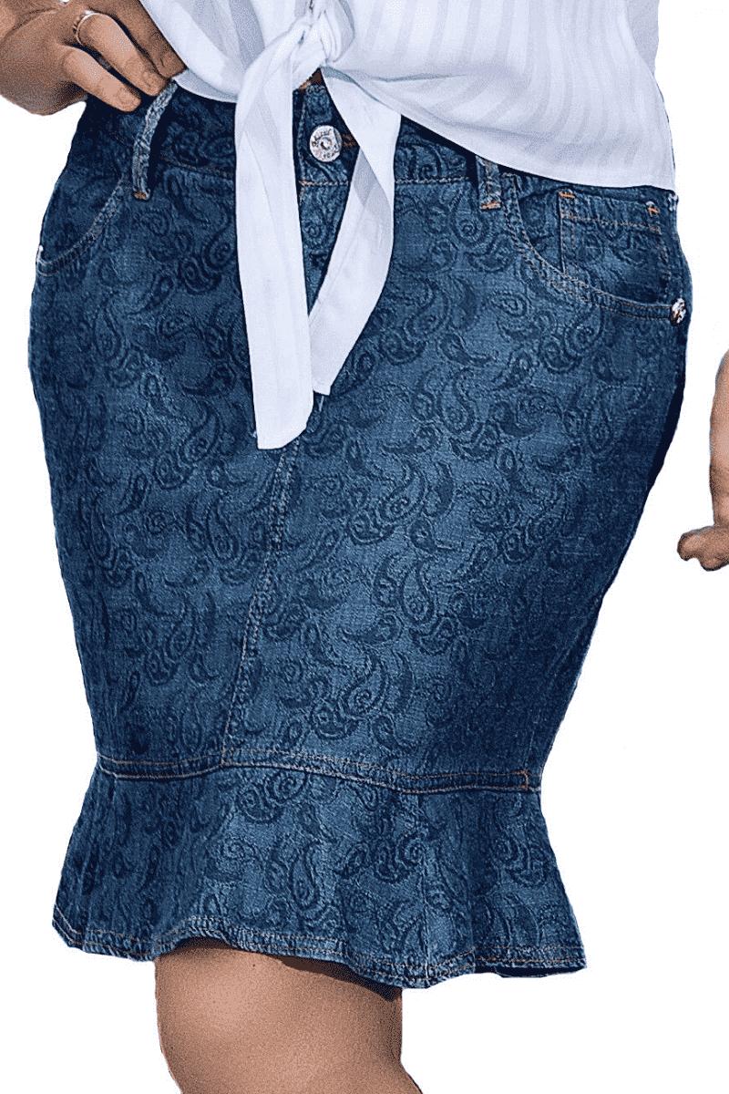 Saia Sino Jeans Liocel D'azul Moda Evangélica