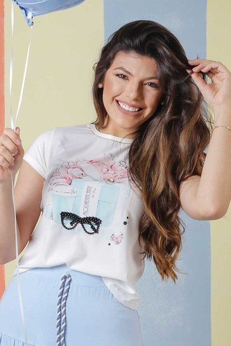 T-shirt Óculos Com Bordados Manual Em Pedraria Moda Conforto